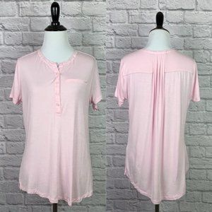 NYDJ Henley Tee Small Knit Pink